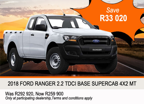 2018 Ford Ranger 2.2 TDCI Base Supercab 4X2 MT